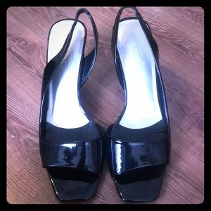 Talbots leather slingback heels